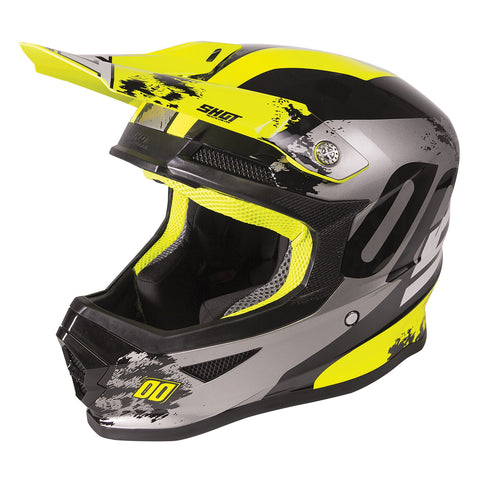 Shot Furious 2020 MX Helmet Kids Shadow Gloss Neon Yellow ACU Approved
