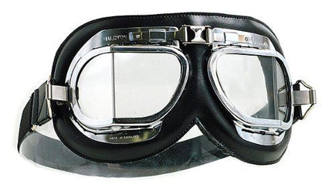 Halcyon MK4 Silver Cross Goggles Vintage Chrome Black Frame Clear Lens