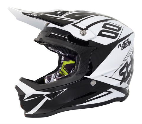 Shot Furious Alert Full Face Motocross Helmet Black White ACU Approved