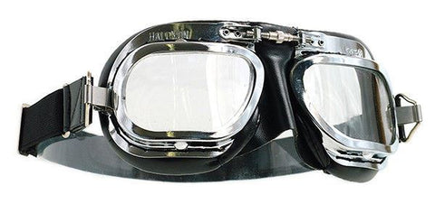 Halcyon Aviator WW2 Goggles MK10 Deluxe Curved Lens Chrome Frame