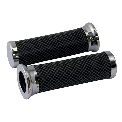 Bike It Universal Motorcycle Handlebar Grips Carbon Effect 22mm