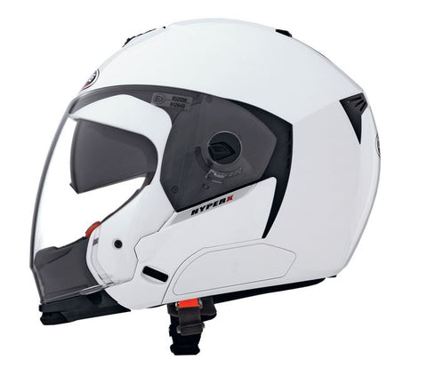 Caberg Hyper X Metal Helmet Gloss White Integrated Sun Visor ACU Approved XS