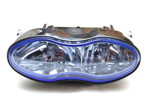Streetfighter Motorcycle Twin Headlight 55w Black With Blue Lens