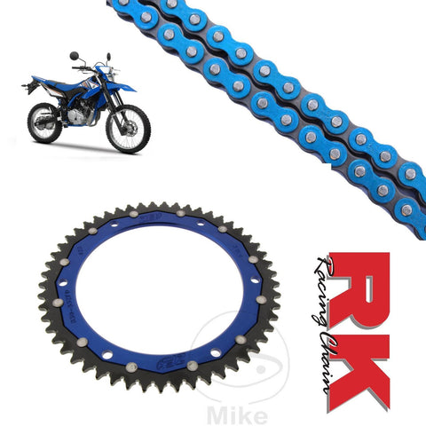 Yamaha WR125 R/X Chain and Sprocket Kit Blue RK Racing BLue ZF Rear SProcket