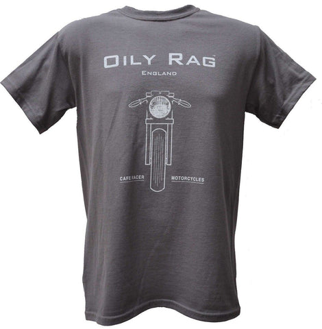 Oily Rag Clothing Retro Cafe Racer Style Motorcycle T Shirt Charcoal Grey