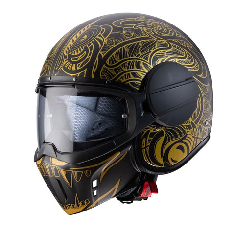 Caberg Ghost Maori Blk/ Motorcycle Helmet Matt Black/Gold