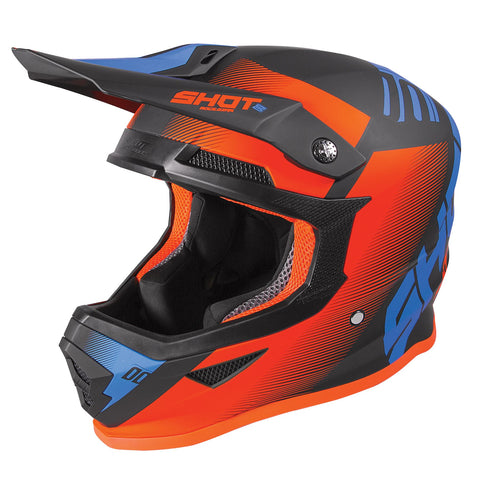 Shot Furious 2020 MX Helmet Adult Trust Black Blue Neon Orange Matt ACU Approved