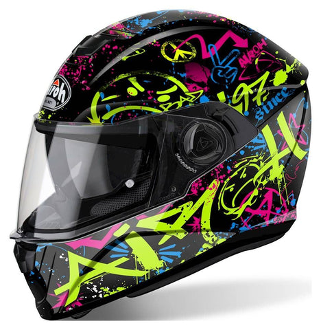 Airoh Storm Full Face Motorcycle Helmet Black Green Pink Yellow ACU Approved