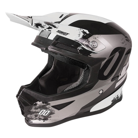 Shot Furious 2020 MX Helmet Kids Shadow Black Gloss White ACU Approved