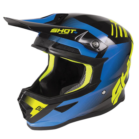 Shot Furious 2020 MX Helmet Adult Trust Gloss Black Blue Neon Yellow ACU Gold