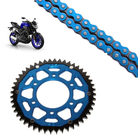 Yamaha MT125 Chain and Sprocket Kit Blue RK Racing Blue ZF Rear Sprocket