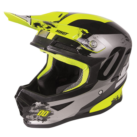 Shot Furious 2020 MX Helmet Adult Shadow Gloss Neon Yellow ACU Approved