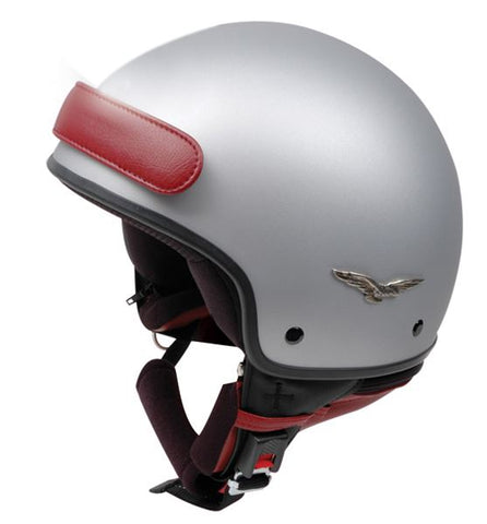 Caberg Freedom Helmet Matt Silver/Red DD-Ring Fastening ACU Approved XS