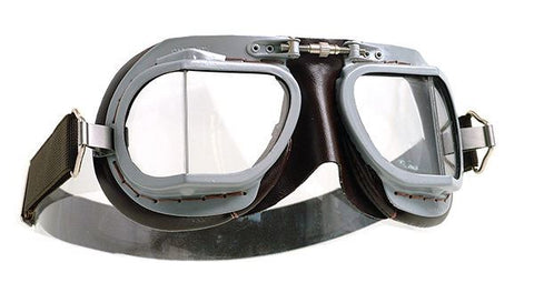 Halcyon MK9 Superjet Goggles Cafe Racer Vintage Aviator Style Brown Grey