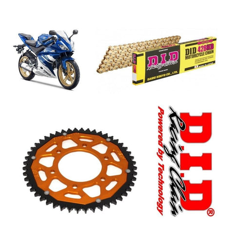Yamaha YZF-R125 Chain and Sprocket Kit : Gold Chain & Gold Sprocket 2008-17