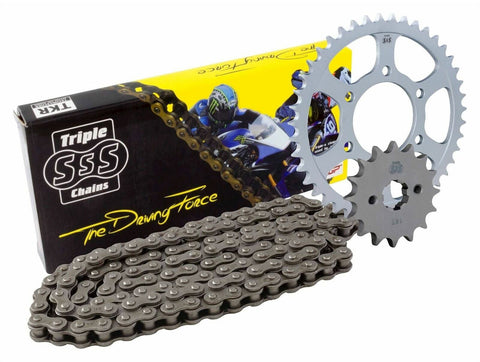 Triple S 520 Heavy Duty Chain and Sprocket Kit Black Aprilia Tuono 12520 2003-07