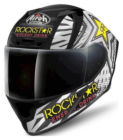 Airoh Valor Rockstar Full Face Motorcycle Helmet Black White ACU Approved