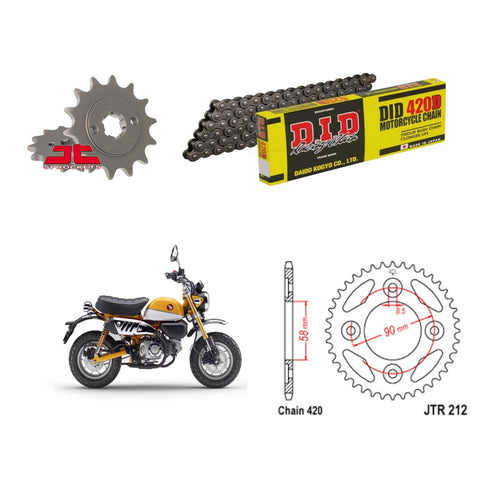 Honda Z125 Monkey Bike DID Chain and Sprocket Kit 2018-