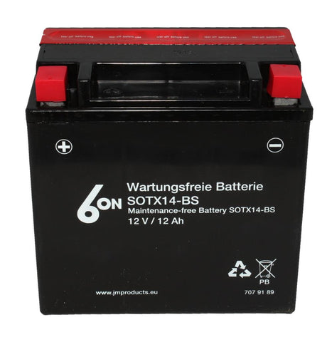 6on YTX14-BS High Cranking Power Motorcycle Bike Battery - 12V 12AH