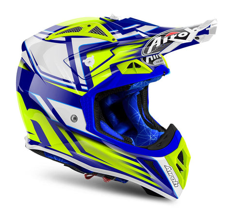 Airoh Aviator 2.2 Restyle Helmet Gloss Blue/White/Yellow ACU Approved