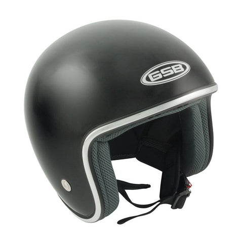 GSB G-234 Adult Open Face Motorcycle Helmet Plain Black S-XL