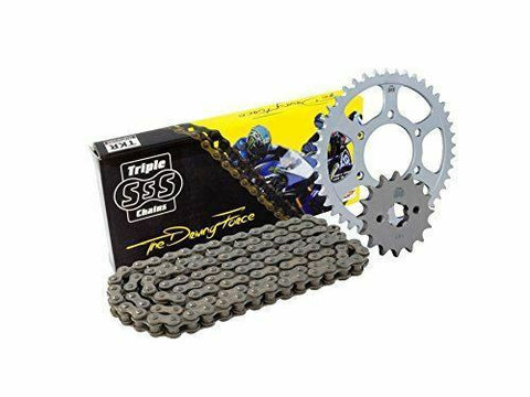 Triple S 520 Chain and Sprocket Kit Black Kawasaki ZXR400 H2/L1-L9 1988-02