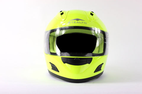 Stealth Fluorescent Yellow Motorcycle Helmet Full Face Hi Viz SMALL
