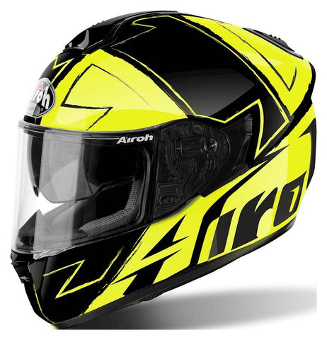 Airoh ST701 Full Face Motorcycle Helmet Black Yellow ACU Approved Sun Visor