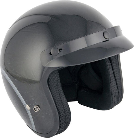 Stealth HD320 Open Face Motorcycle Scooter Helmet Gloss Black with Peak