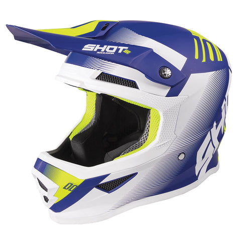 Shot Furious 2020 MX Helmet Adult Trust Matt Blue Neon Yellow ACU Approved