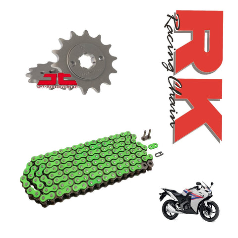RK Racing Chain and Sprocket Kit Green for Honda CBR125 R 2011-16