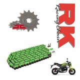 Honda MSX125 RK Racing Green Chain and Sprocket Kit 428 UPGRADE