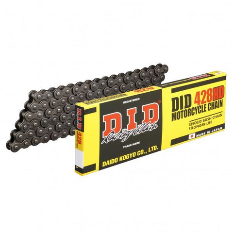 DID 428 HD Heavy Duty Motorcycle Chain Black Steel 124 RJ Clip Split Link
