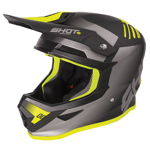 Shot Furious 2020 MX Helmet Adult Trust Matt Black Neon Yellow ACU Approved