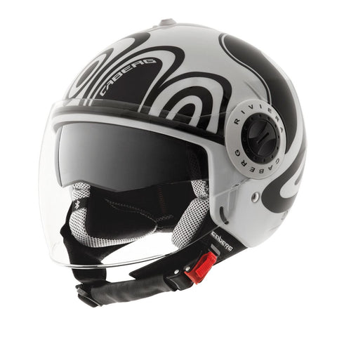 Caberg Riviera V2+ Wave Open Face Helmet Matt Black White ACU Gold Approved XS