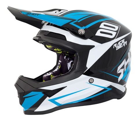 Shot Furious Alert Full Face Motocross Helmet Blue White Black ACU Approved