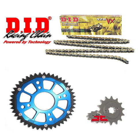 Suzuki GSX-R GSX-S 125 Chain and Sprocket Set : Gold / Blue