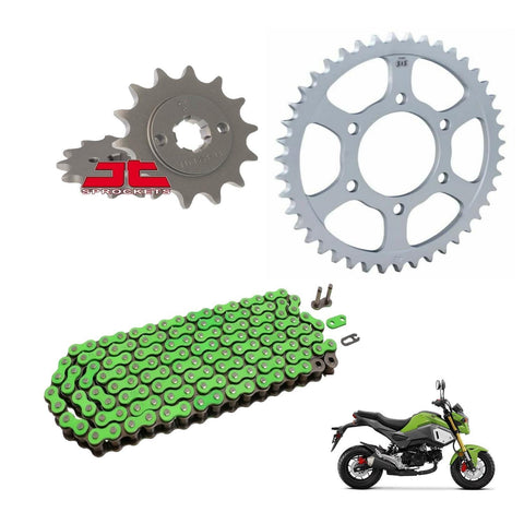 RK Racing Chain and Sprocket Kit Green for Honda MSX125 Grom 2013-18