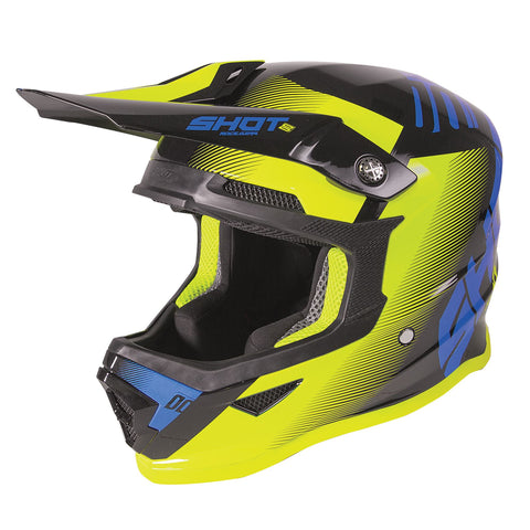 Shot Furious 2020 MX Trust Kids Helmet Matt Blue Neon Yellow ACU Approvato