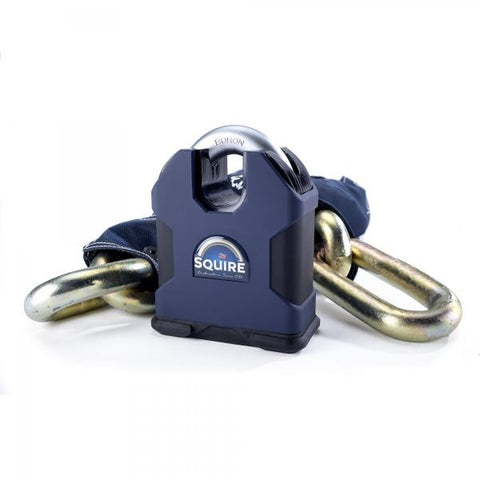Squire Behemoth Padlock and Chain 22m Diamond Rated