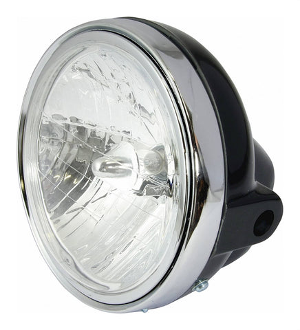 Universal Motorcycle Headlight 7'' Black with Diamond Eye Lens 12V 25/25w