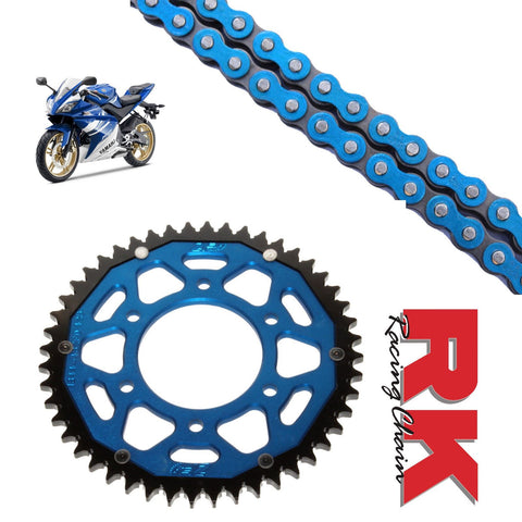Yamaha YZF-R125 Chain and Sprocket Kit : Blue Chain & Blue Sprocket 2008-17