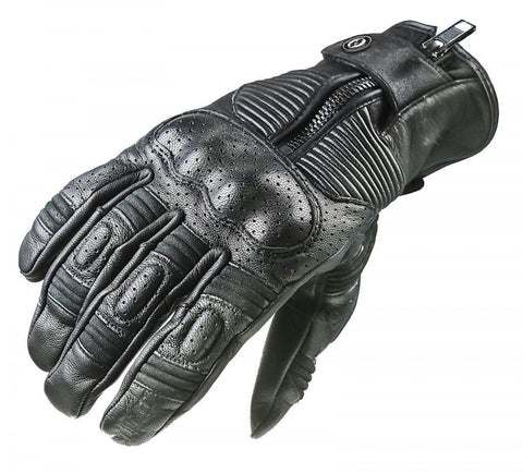 Garibaldi Leather Smoke Motorcycle Cafe Racer Leather Gloves Black