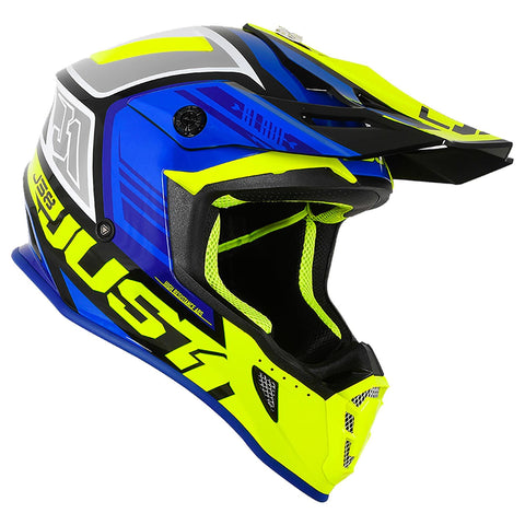 Just 1 J38 Motocross Helmet Blade Fluo Yellow Blue Gold ACU