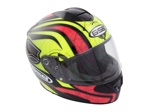 GSB G-350 Full Face Motorcycle Helmet Yellow Red Hi-Vis Graphic