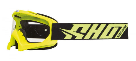 Shot Creed Neon Yellow Motocross MX Goggles Clear Lens