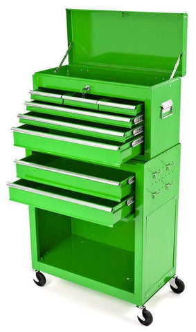 BikeTek Steel Rolling Tool Cabinet Vert 6 Tiroirs Top Chest Box Garage Storage
