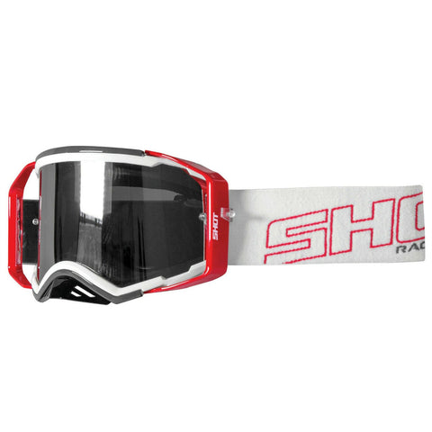 Shot Lite Grey Red Glossy MX Goggles