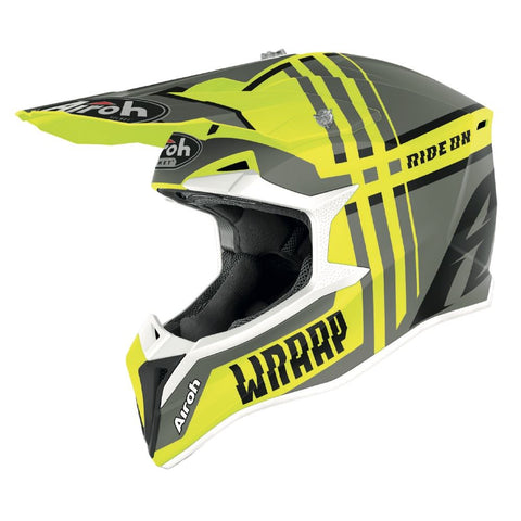 Airoh Wraap Broken Motocross & ATV Helmet Yellow/Matt