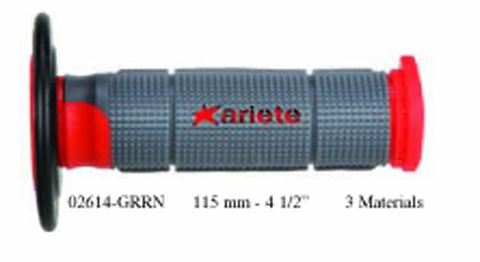 Ariete 02614-GRRN Motorcycle Handlebar Grips (Off-Road) Trinity Red 125mm